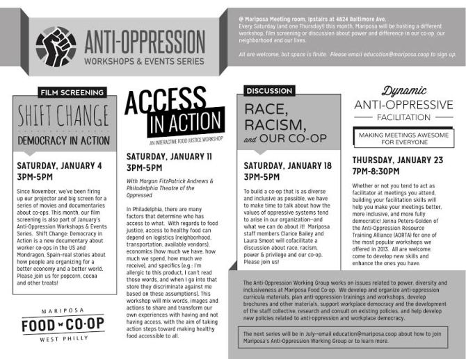 Anti-Oppression Working Group Workshop Series